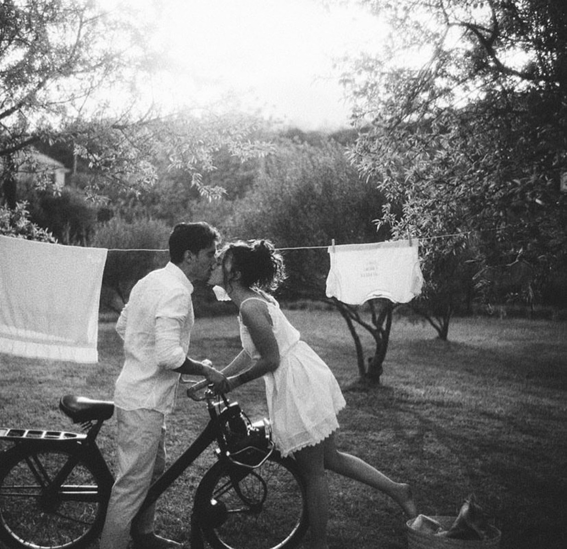 bike, black and white, and couple image