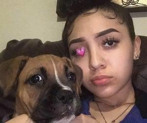 girl, girls, and doggo image