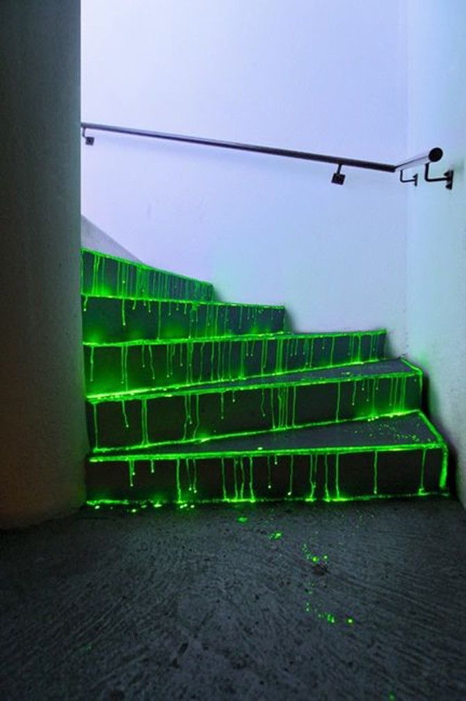 green, stairs, and neon image