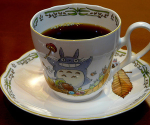 totoro, tea, and coffee image