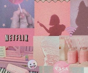 pink, wallpaper, and netflix image