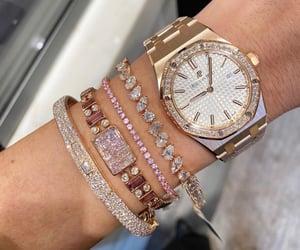 diamond, watch, and gold image