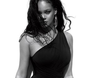 rihanna, black, and black and white image