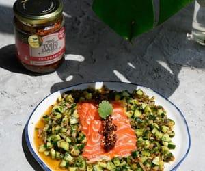 cucumber, salad, and salmon image