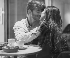 couple, kiss, and coffee image