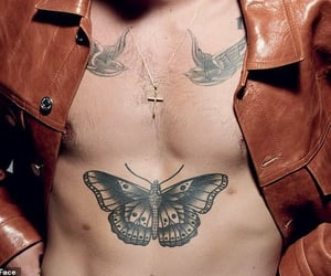 leather jacket, Harry Styles, and abdomen image
