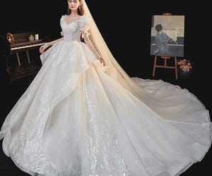 bridal gown, bridal, and bride image