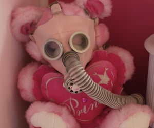 gas mask, red, and soft image