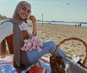 hijab, dress, and pink image
