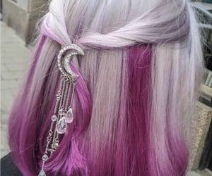 dyed hair, hair, and hair pin image