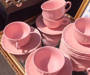 cup, pink, and saucer image