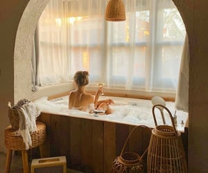 bath, bathtub, and relax image