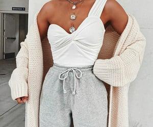 cardigan, fashion, and grey image