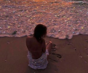 beach, girl, and glitter image