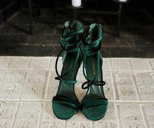 green, high heels, and dark green image