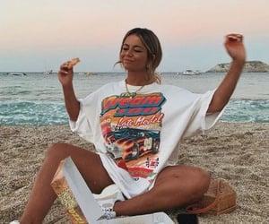 beach, food, and girl image