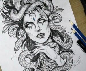diseno, drawing, and medusa image