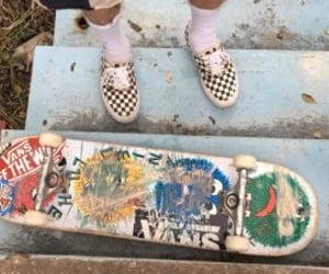 outfit, skater, and skateboard image