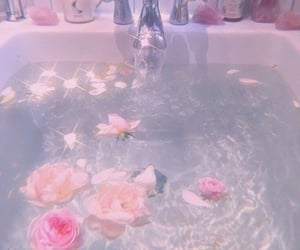 flowers, water, and bath image