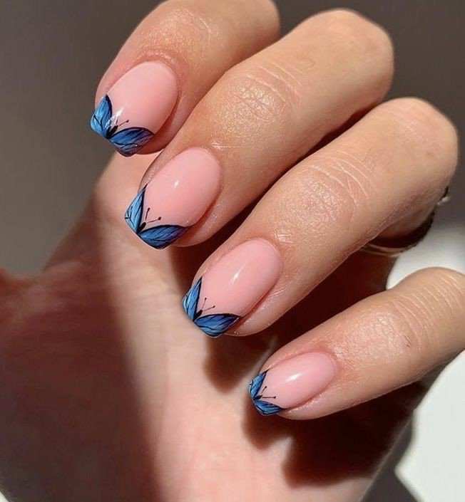 nails, butterfly, and nail art image