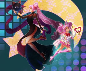 black lady, wicked lady, and sailor chibi moon image