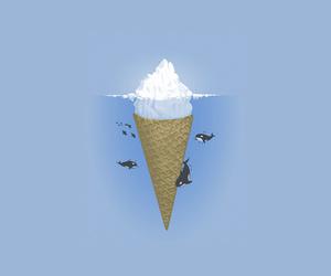 ice cream, sea, and iceberg image
