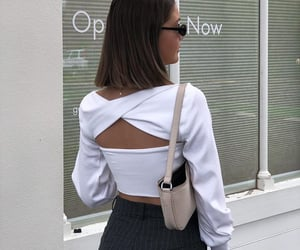 long sleeve top, short brown hair, and white crop top image