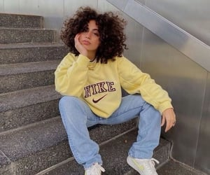 yellow, nike, and outfit image