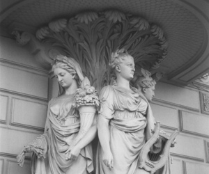 statue, black and white, and vintage image