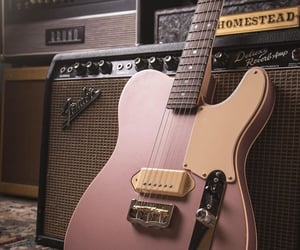guitar, music, and pink image