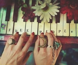 hands, piano, and red nails image