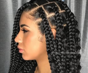 hairstyles, box braids, and black hair image