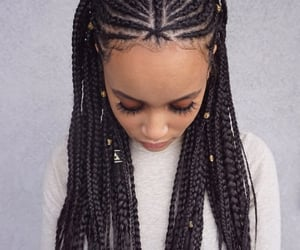 black hair, braids, and hair image