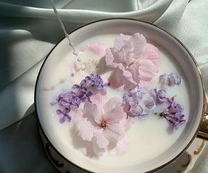 flowers, milk, and tea image