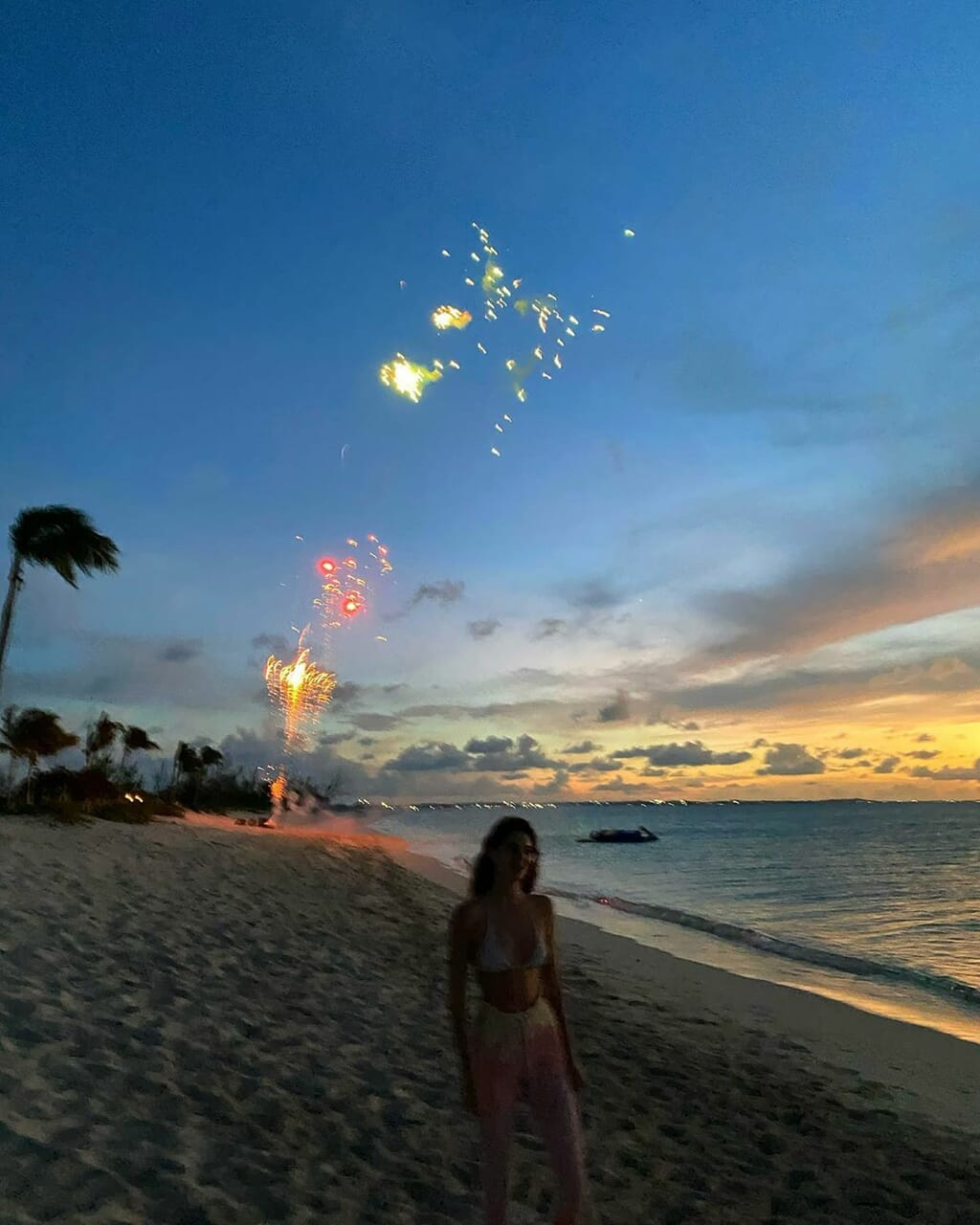 fireworks, kendall jenner, and beach image