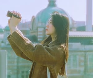 asian girl, black hair, and Film Photography image