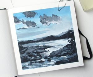 gouache art, gouache landscape, and sketchbook painting image