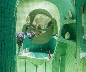 bathroom, green, and interior image