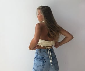 dark blonde hair, long straight hair, and cute summer outfit image