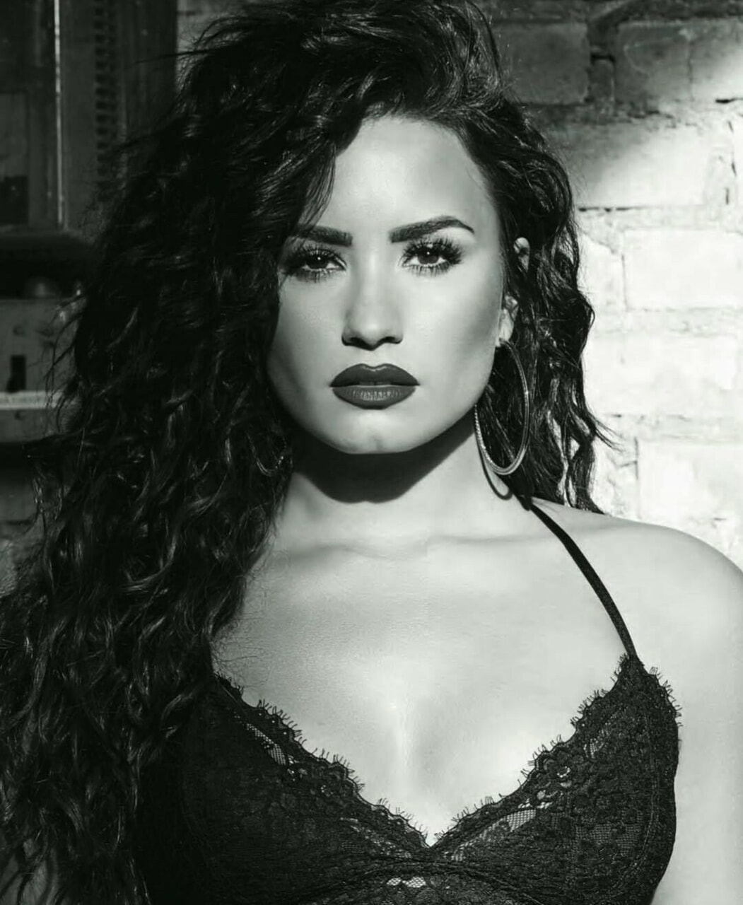 black and white, demi lovato, and woman image
