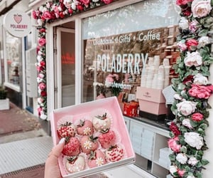 pink, dessert, and flowers image