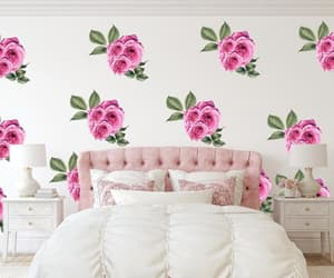 peony bouquet, nursery wall decal, and peony wallpaper image