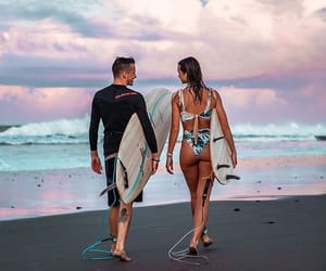 board, girl, and surf image