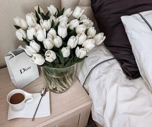flowers, dior, and coffee image