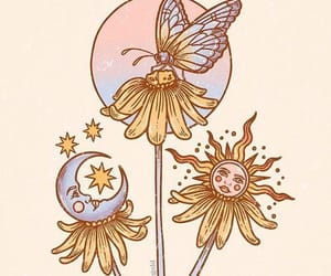 luna, mariposa, and moon image