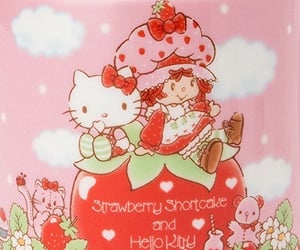 hello kitty, pink, and strawberry image