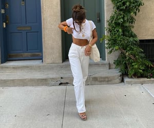 gold jewelry, everyday look, and straight jeans image