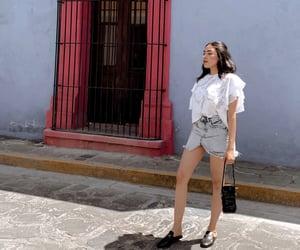 beauty, denim skirt, and gucci slides image
