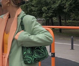 orange top, outfit of the day ootd, and green bag purse image