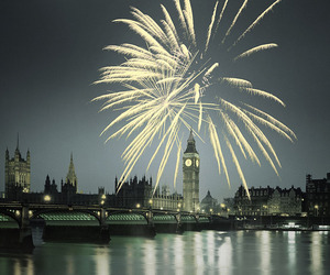 fireworks, london, and night image